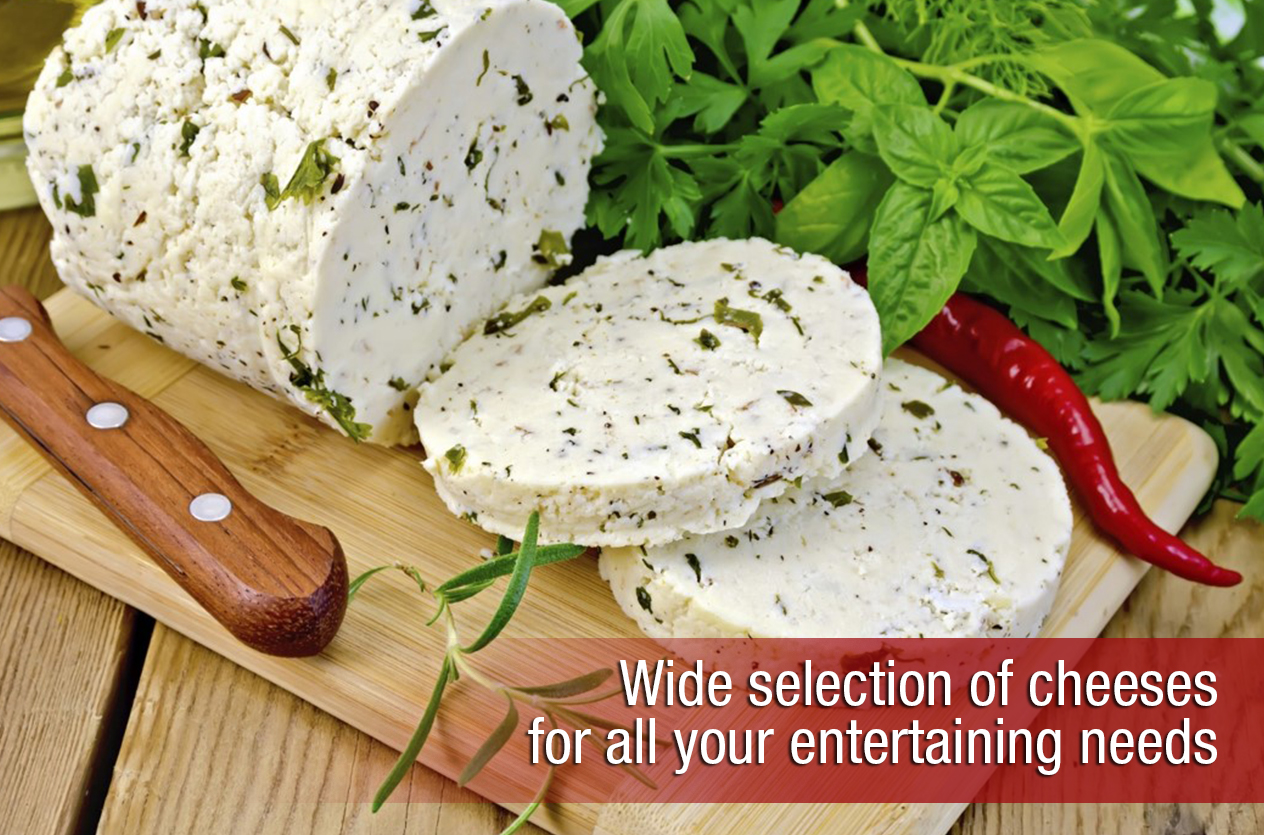 Wide selection of cheeses