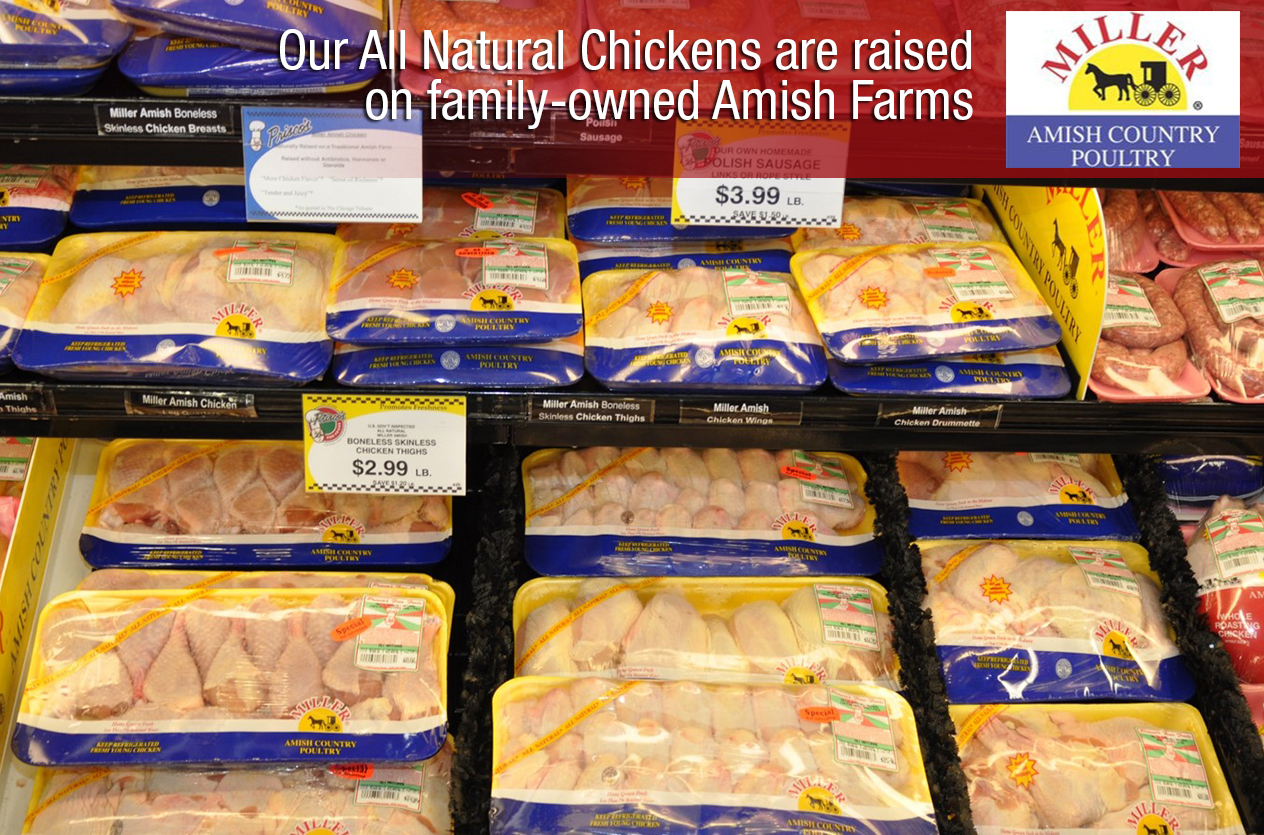 Our All Natural Chickens are raised on family-owned Amish farms