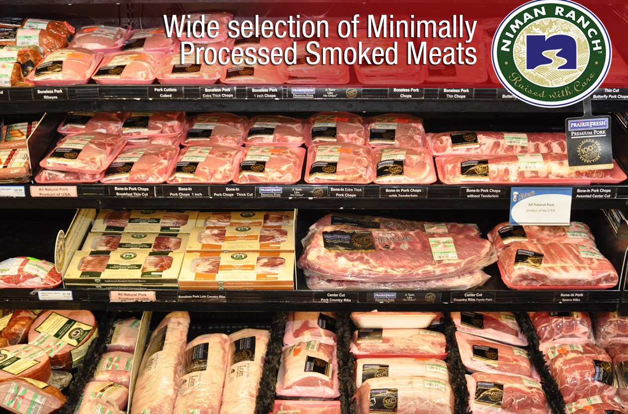 Wide selection of minimally processed smoked meats